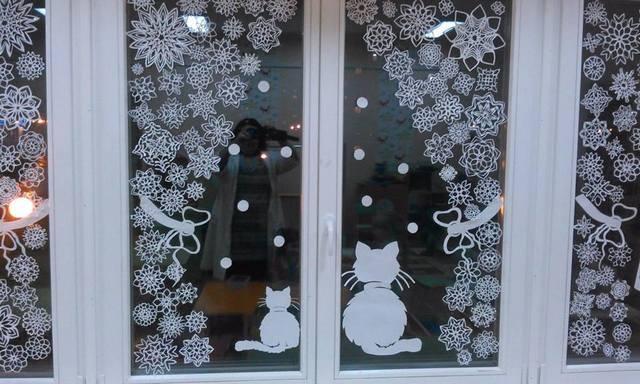 оформление окна на новый год фото