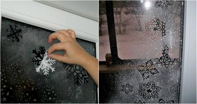 оформление окна на новый год снежинки