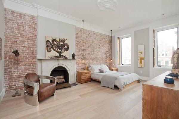 скандинавский стиль в интерьере большой спальни кирпичная стена