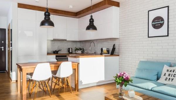 скандинавский стиль в интерьере гостиной кухни
