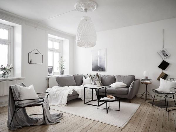 скандинавский стиль в интерьере гостиной оттенки серого