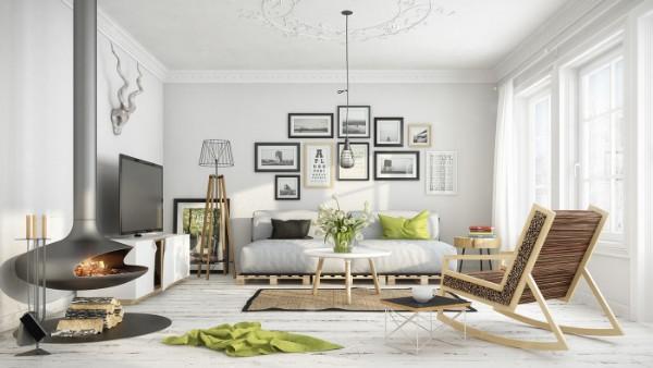 скандинавский стиль в интерьере гостиной серо-белый дизайн