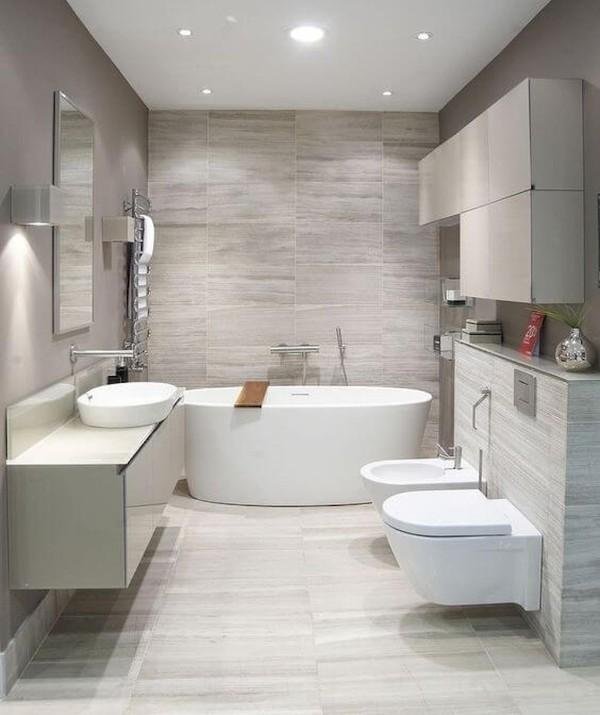 скандинавский стиль в интерьере серой ванной
