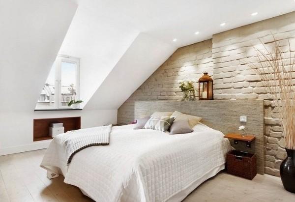 скандинавский стиль в интерьере спальни любопытный дизайн в мансарде
