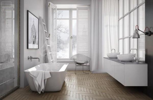 скандинавский стиль в интерьере уютной ванной