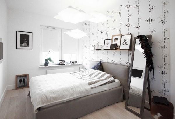 скандинавский стиль в интерьере вариант дизайна спальни
