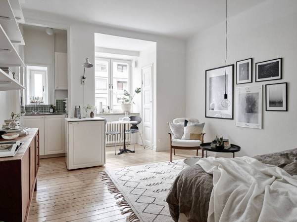 скандинавский стиль в интерьере вариант дизайна студии