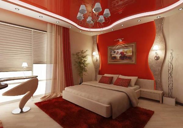 сочетание цветов в интерьере спальни красной спальни