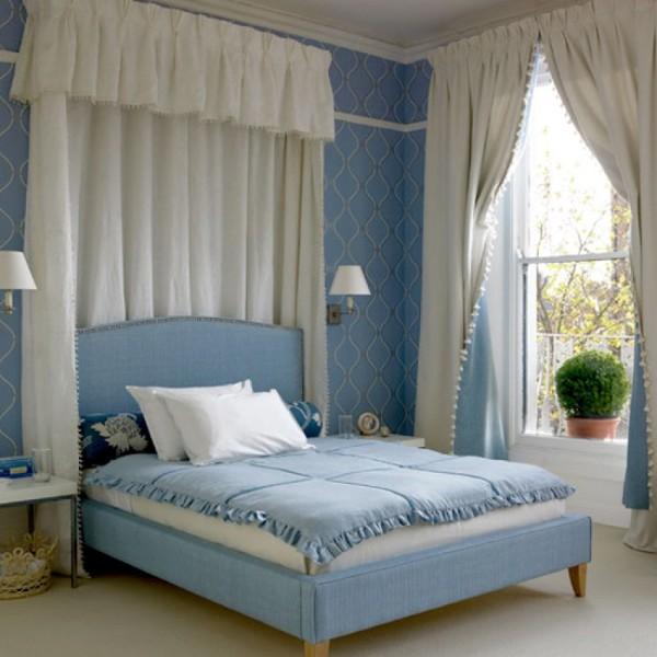 сочетание цветов в интерьере спальни бело-голубой дизайн