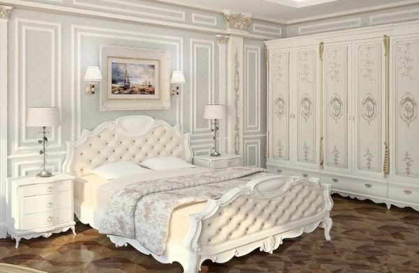 сочетание цветов в интерьере спальни белый серо-голубой кремовый