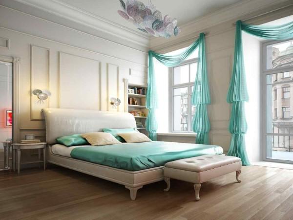 сочетание цветов в интерьере спальни бирюзовый и молочный