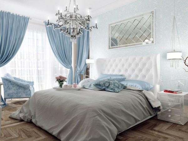 сочетание цветов в интерьере спальни оттенки голубого и серый