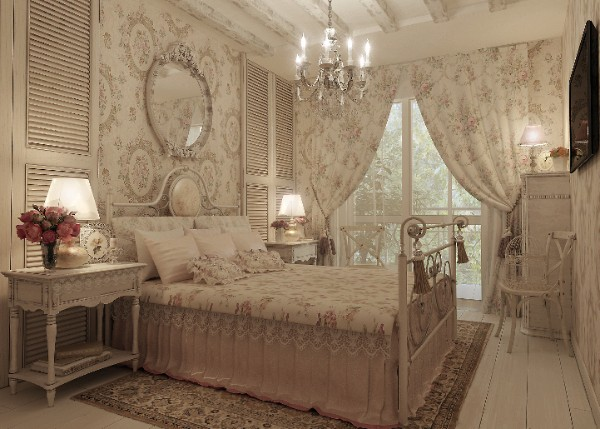 сочетание цветов в интерьере спальни прованс светло-бежевый молочный