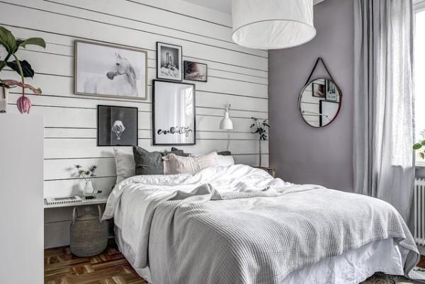 сочетание цветов в интерьере спальни серо-сиреневый дизайн
