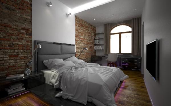 сочетание цветов в интерьере спальни серый и коричневый в лофтовом дизайне