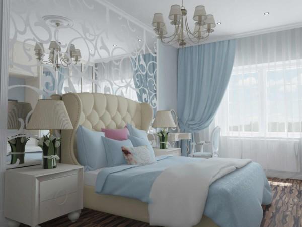 сочетание цветов в интерьере спальни серый молочный и голубой