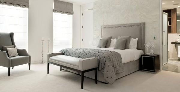 сочетание цветов в интерьере спальни серый