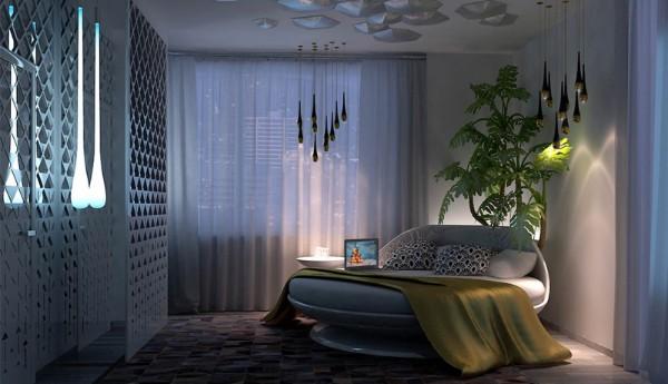 сочетание цветов в интерьере спальни синий оливковый зелёный