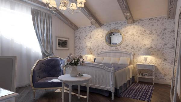 сочетание цветов в интерьере спальни синий серый белый