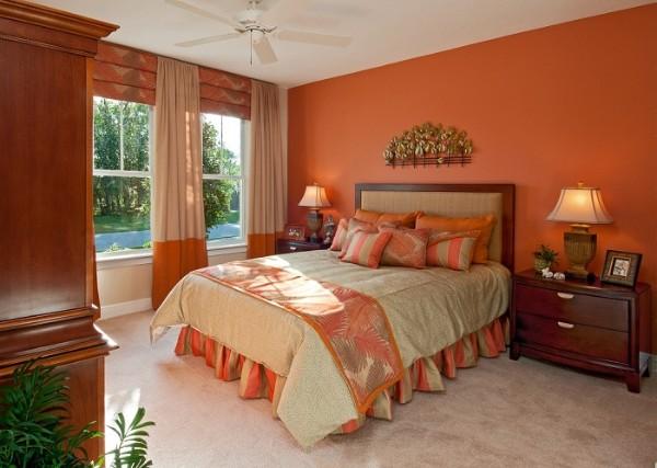 сочетание цветов в интерьере спальни светло-коричневый терракотовый бежевый