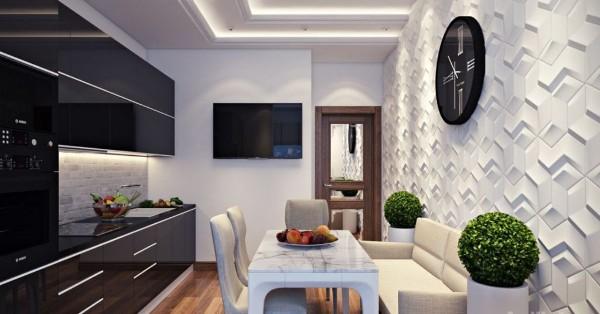 современные 3д обои для кухни в чёрно-белом дизайне