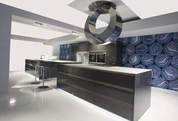 современные 3д обои для кухни в стиле хай тек
