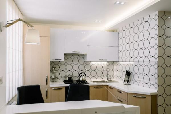 современные белые обои для кухни дизайн в виде правильных окружностей