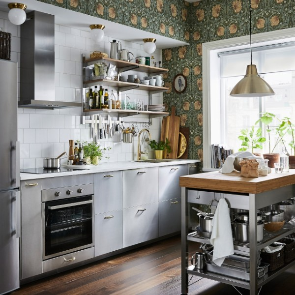 современные белые обои для кухни насыщенный травяной