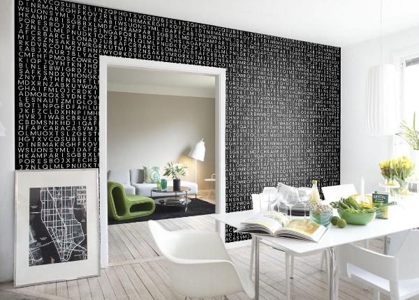 современные чёрные обои для кухни белый интерьер