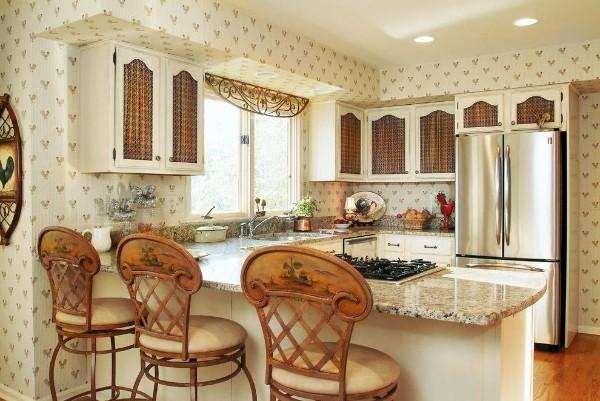 современные кремовые обои для кухни