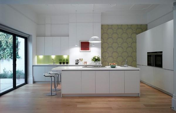 современные обои для белой кухни
