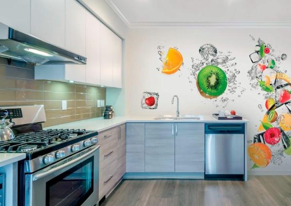 современные обои для кухни белый интерьер