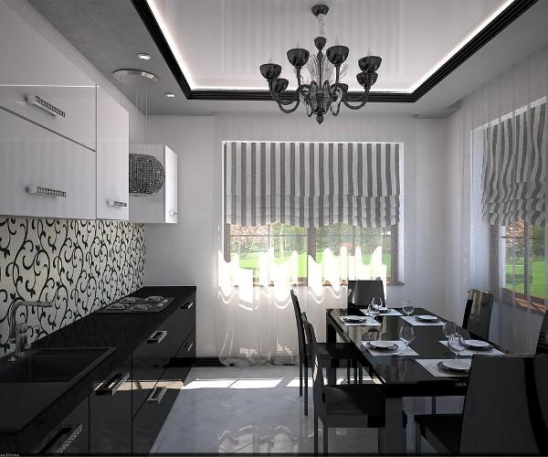 современные обои для кухни чёрно-белый дизайн