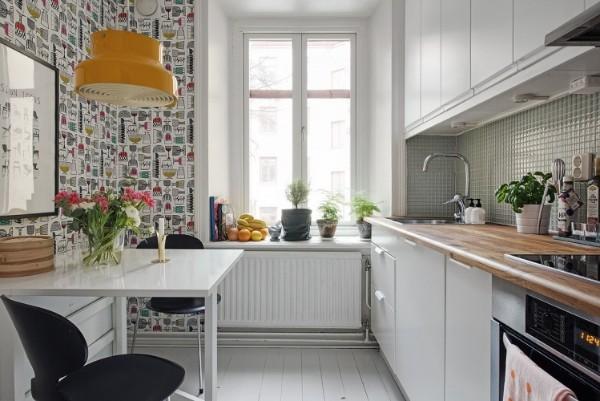 современные обои для кухни фужеры на светлом фоне
