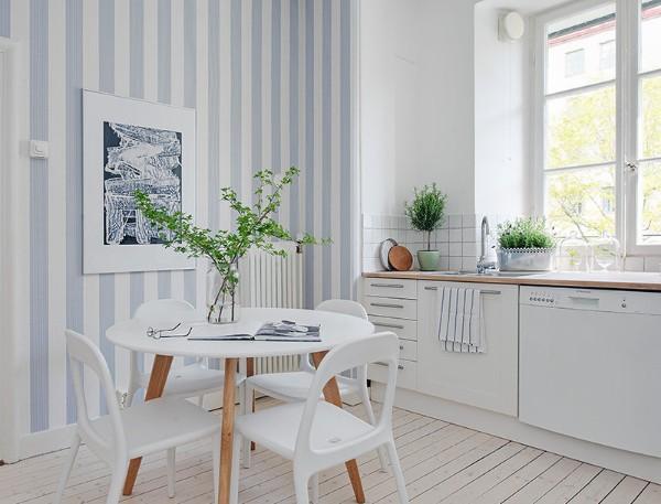 современные обои для кухни голубые с белым
