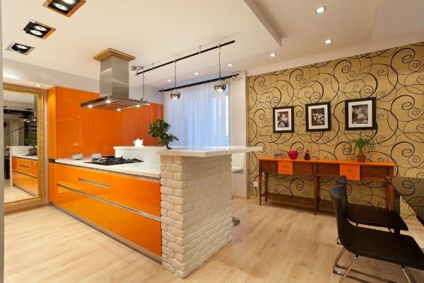 современные обои для кухни горчичный цвет