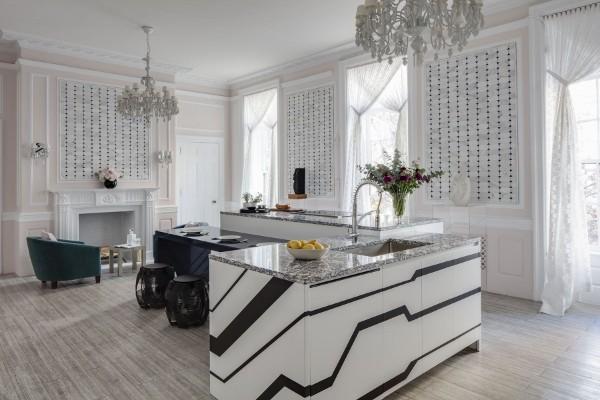 современные обои для кухни интересный дизайн