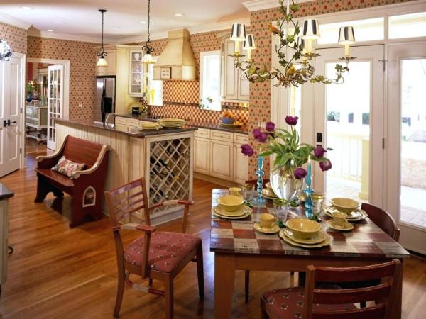 современные обои для кухни кирпичный оттенок и милый принт