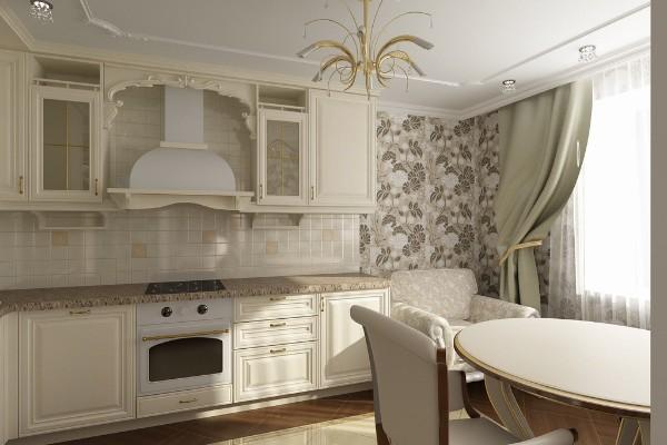 современные обои для кухни классический интерьер