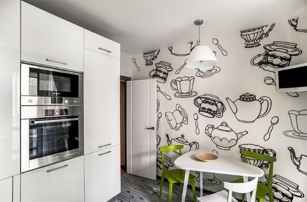 современные обои для кухни кухонная утварь на белом фоне