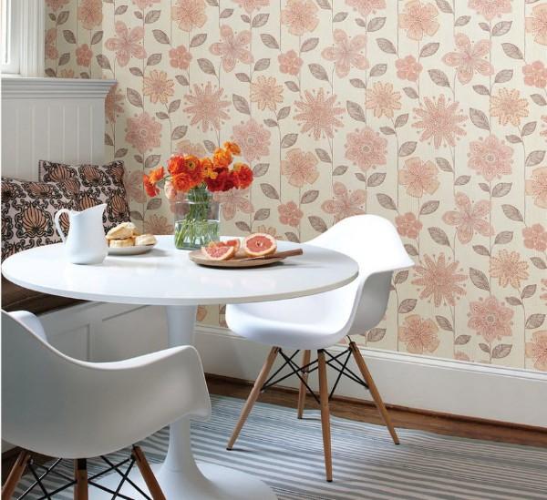 современные обои для кухни пастельный розовый
