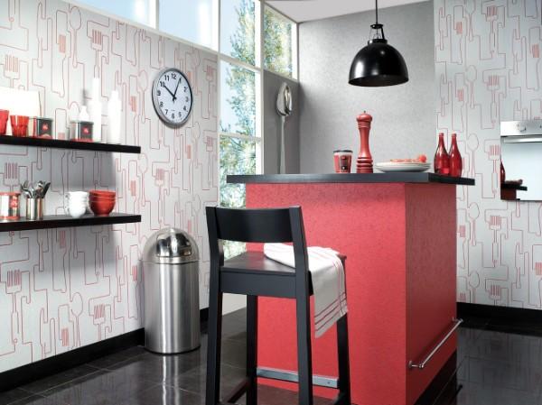 современные обои для кухни розовый принт на белом фоне