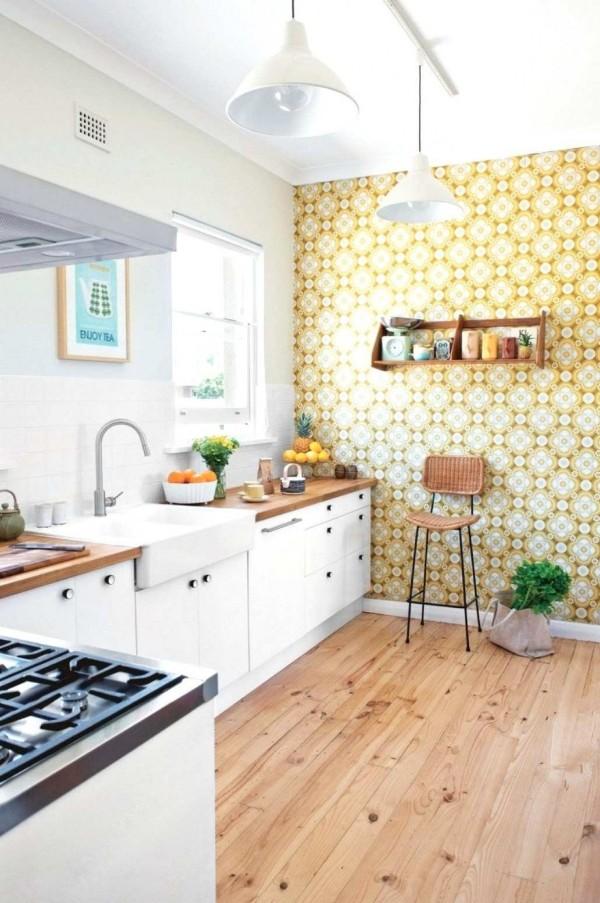 современные обои для кухни с геометрическим рисунком