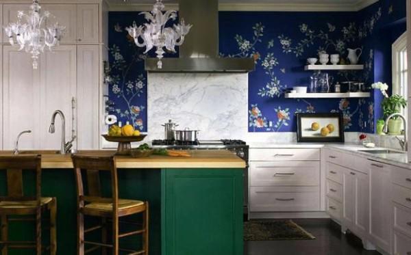 современные обои для кухни синего цвета
