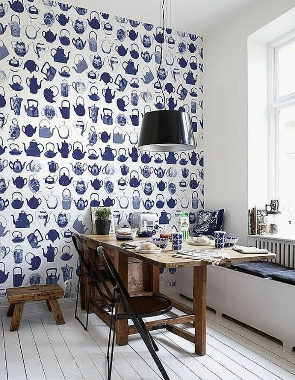 современные обои для кухни синий принт на белом фоне