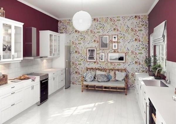 современные обои для кухни сочетание с бордовой стеной