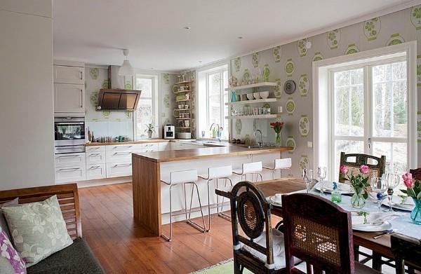 современные обои для кухни студии