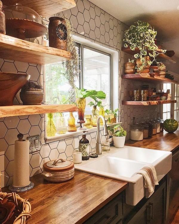 современные обои для кухни светло-коричневые