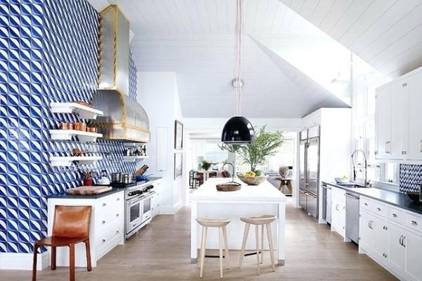 современные обои для кухни в мансарде