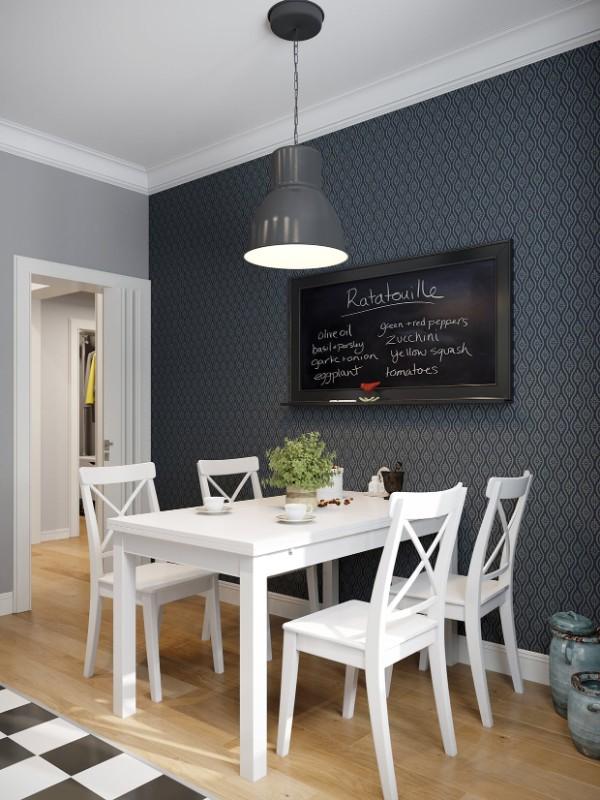 современные обои для кухни в скандинавском стиле чёрная акцентная стена